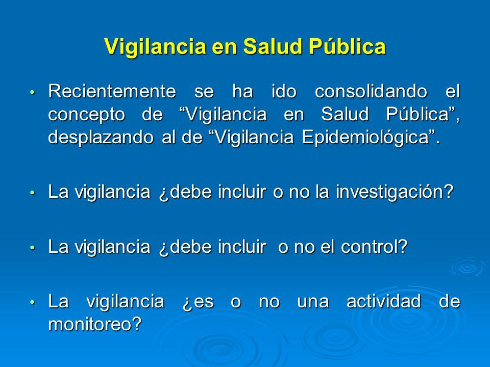 Vigilancia en Salud Pública Recientemente se ha ido consolidando el concepto de Vigilancia en Salud Pública, desplazando al de Vigilancia Epidemiológi