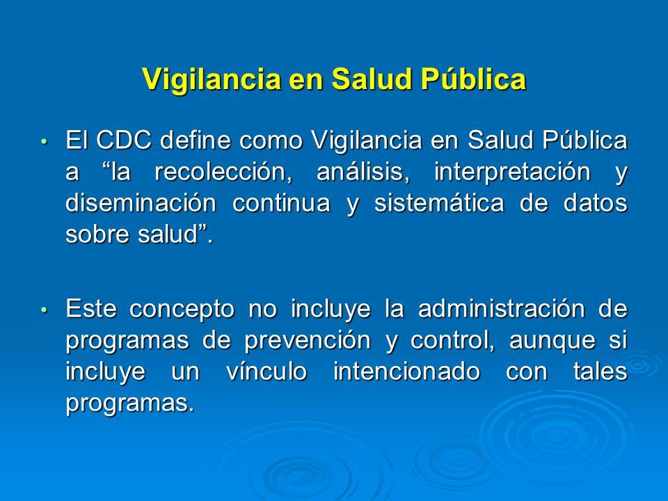Vigilancia en Salud Pública El CDC define como Vigilancia en Salud Pública a la recolección, análisis, interpretación y diseminación continua y sistem