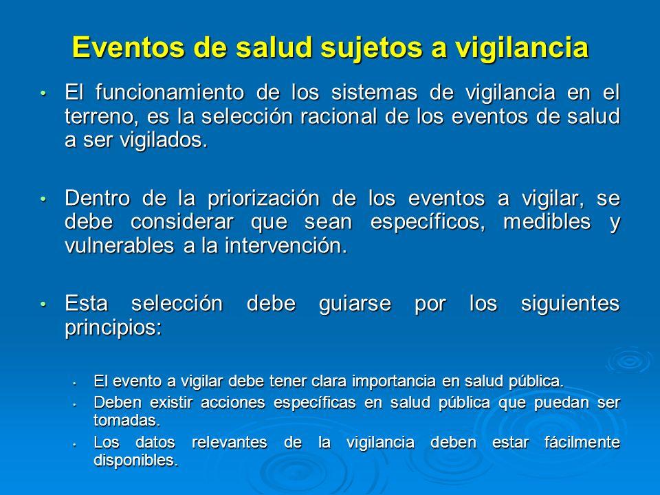 Eventos de salud sujetos a vigilancia El funcionamiento de los sistemas de vigilancia en el terreno, es la selección racional de los eventos de salud