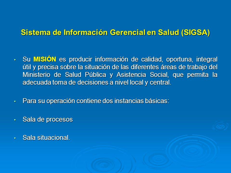 Sistema de Información Gerencial en Salud (SIGSA) Su MISIÓN es producir información de calidad, oportuna, integral útil y precisa sobre la situación d