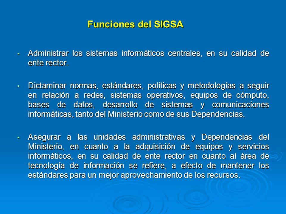 Funciones del SIGSA Administrar los sistemas informáticos centrales, en su calidad de ente rector. Administrar los sistemas informáticos centrales, en