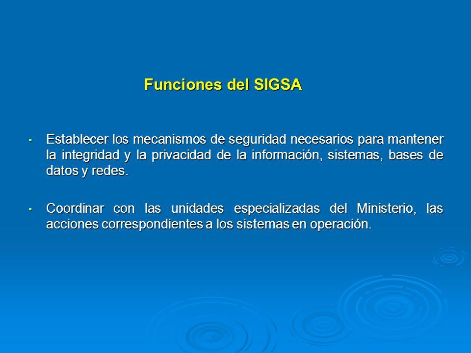 Funciones del SIGSA Establecer los mecanismos de seguridad necesarios para mantener la integridad y la privacidad de la información, sistemas, bases d