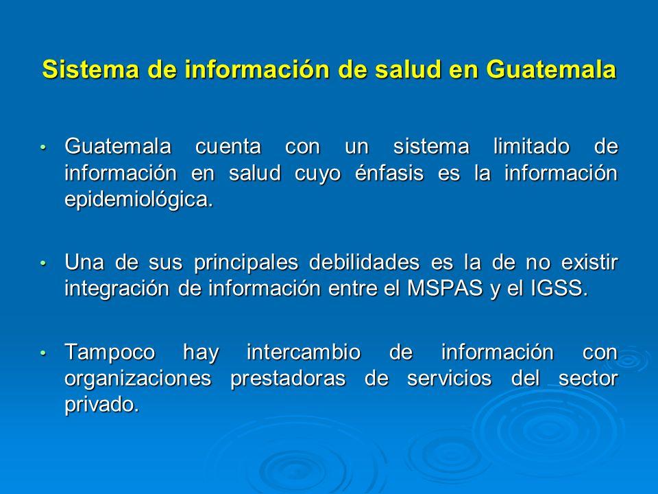 Sistema de información de salud en Guatemala Guatemala cuenta con un sistema limitado de información en salud cuyo énfasis es la información epidemiol