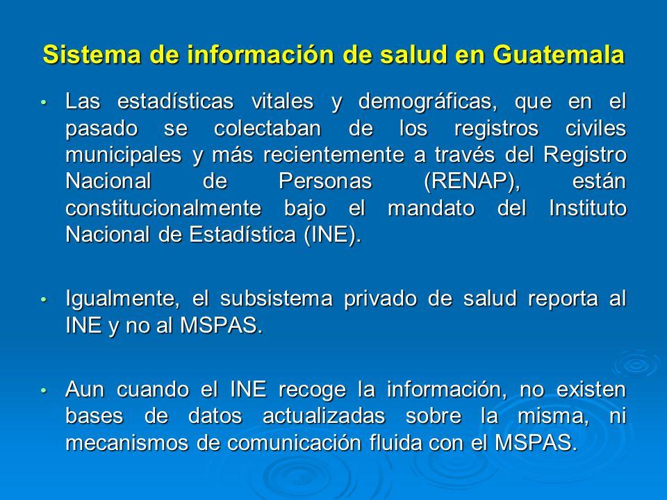 Sistema de información de salud en Guatemala Las estadísticas vitales y demográficas, que en el pasado se colectaban de los registros civiles municipa
