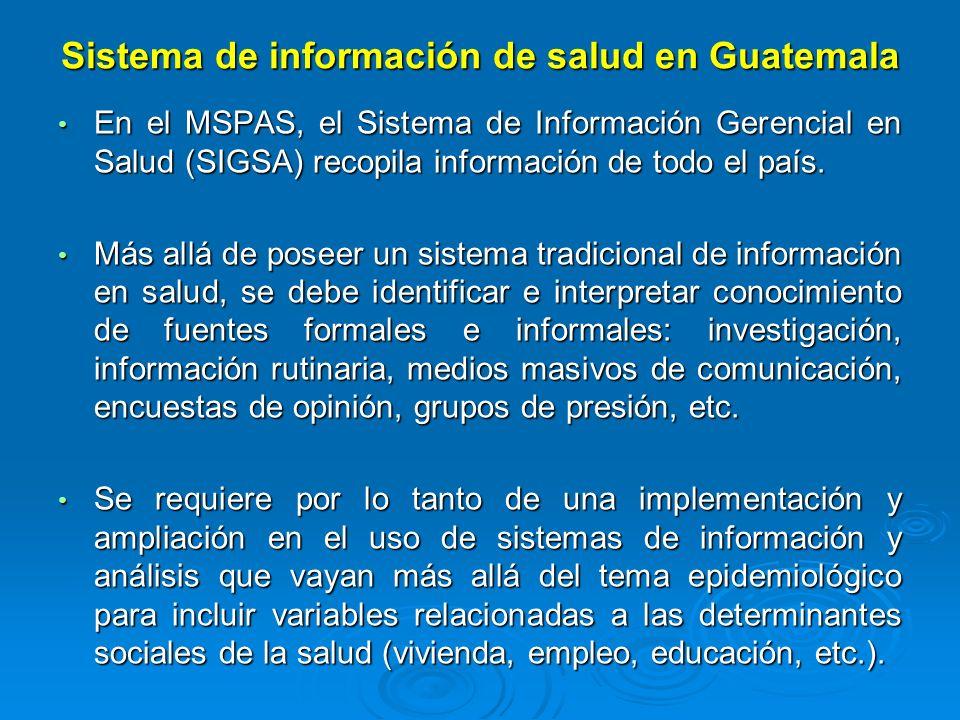 Sistema de información de salud en Guatemala En el MSPAS, el Sistema de Información Gerencial en Salud (SIGSA) recopila información de todo el país. E
