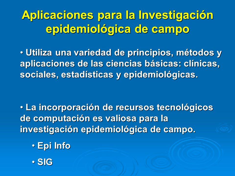 Aplicaciones para la Investigación epidemiológica de campo Utiliza una variedad de principios, métodos y aplicaciones de las ciencias básicas: clínica