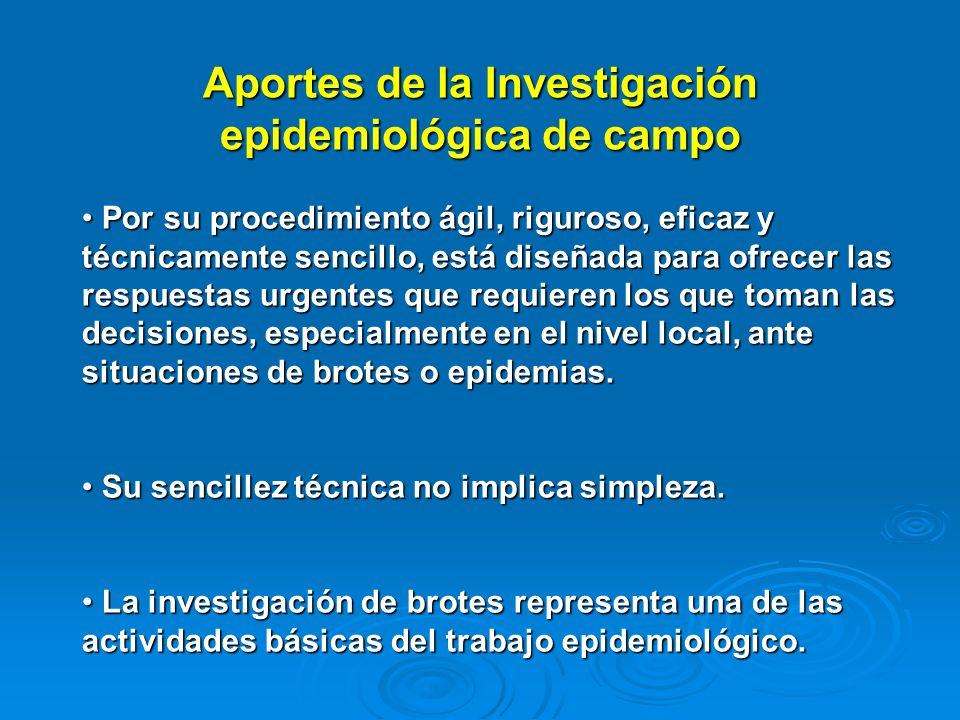 Aportes de la Investigación epidemiológica de campo Por su procedimiento ágil, riguroso, eficaz y técnicamente sencillo, está diseñada para ofrecer la