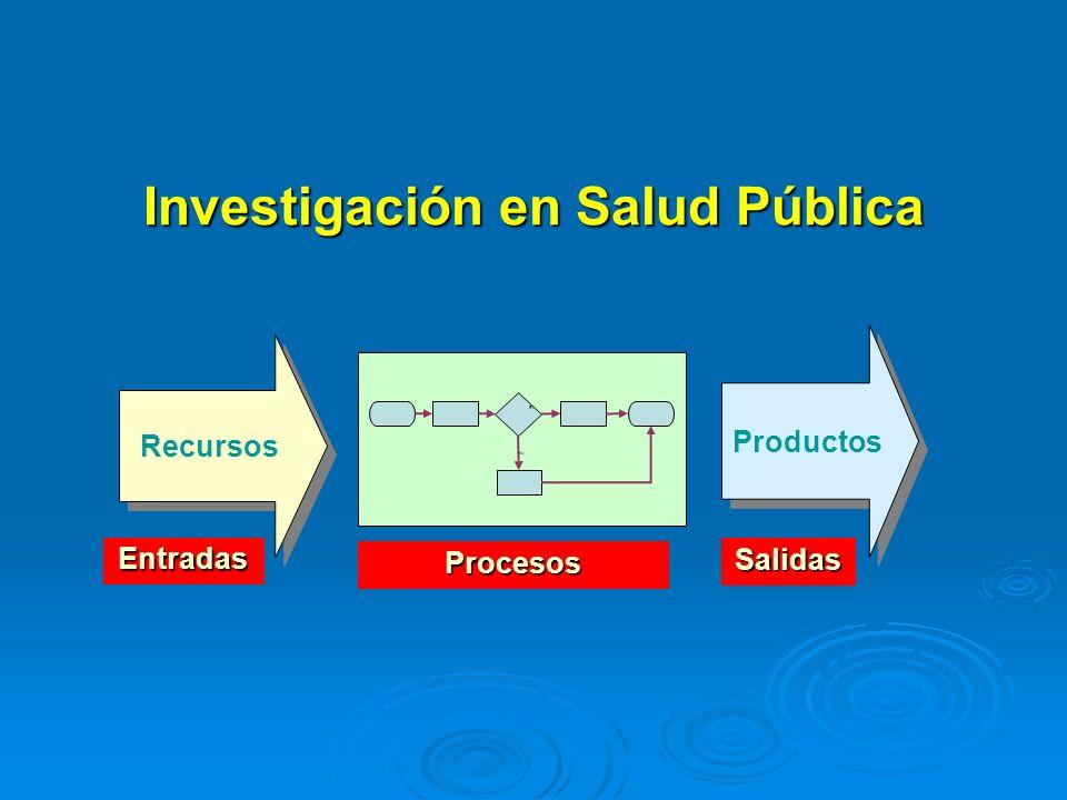 Investigación en Salud Pública Recursos Productos No Sí Entradas Salidas Procesos