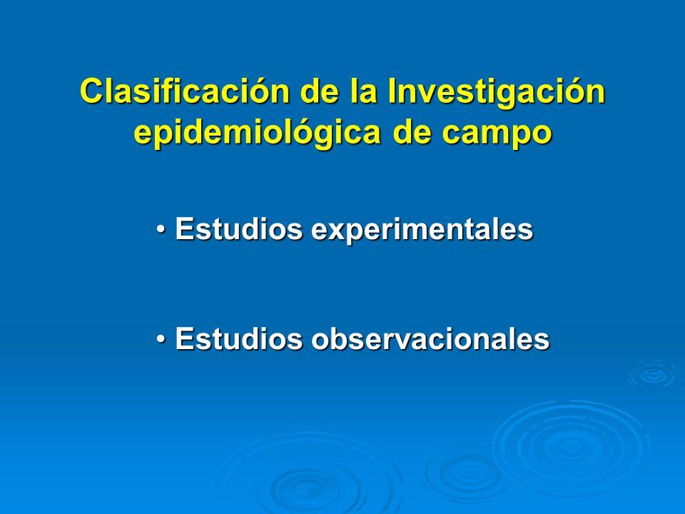 Clasificación de la Investigación epidemiológica de campo Estudios experimentales Estudios experimentales Estudios observacionales Estudios observacio