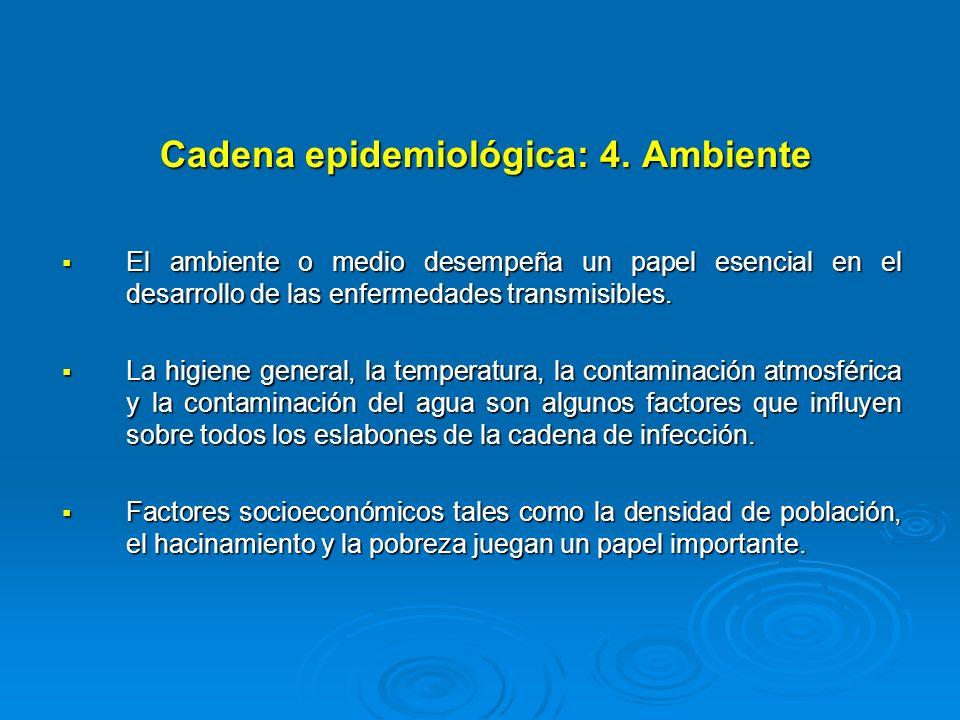 Cadena epidemiológica: 4. Ambiente El ambiente o medio desempeña un papel esencial en el desarrollo de las enfermedades transmisibles. El ambiente o m