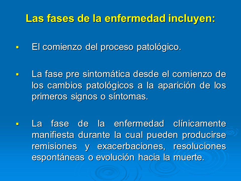 Las fases de la enfermedad incluyen: El comienzo del proceso patológico. El comienzo del proceso patológico. La fase pre sintomática desde el comienzo