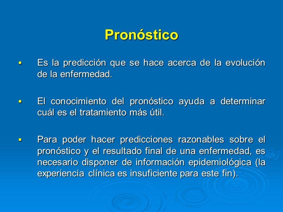 Pronóstico Es la predicción que se hace acerca de la evolución de la enfermedad. Es la predicción que se hace acerca de la evolución de la enfermedad.