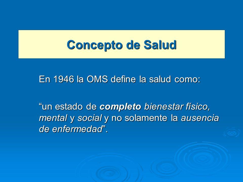 Concepto de Salud En 1946 la OMS define la salud como: un estado de completo bienestar físico, mental y social y no solamente la ausencia de enfermeda