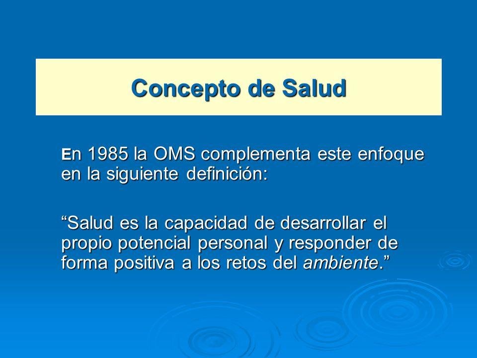 Concepto de Salud E n 1985 la OMS complementa este enfoque en la siguiente definición: Salud es la capacidad de desarrollar el propio potencial person