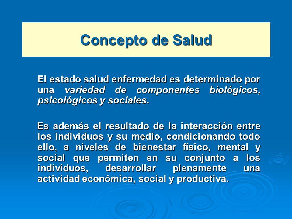 Concepto de Salud El estado salud enfermedad es determinado por una variedad de componentes biológicos, psicológicos y sociales. Es además el resultad
