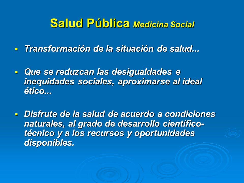 Salud Pública Medicina Social Transformación de la situación de salud... Transformación de la situación de salud... Que se reduzcan las desigualdades