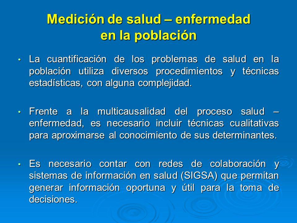 Medición de salud – enfermedad en la población La cuantificación de los problemas de salud en la población utiliza diversos procedimientos y técnicas