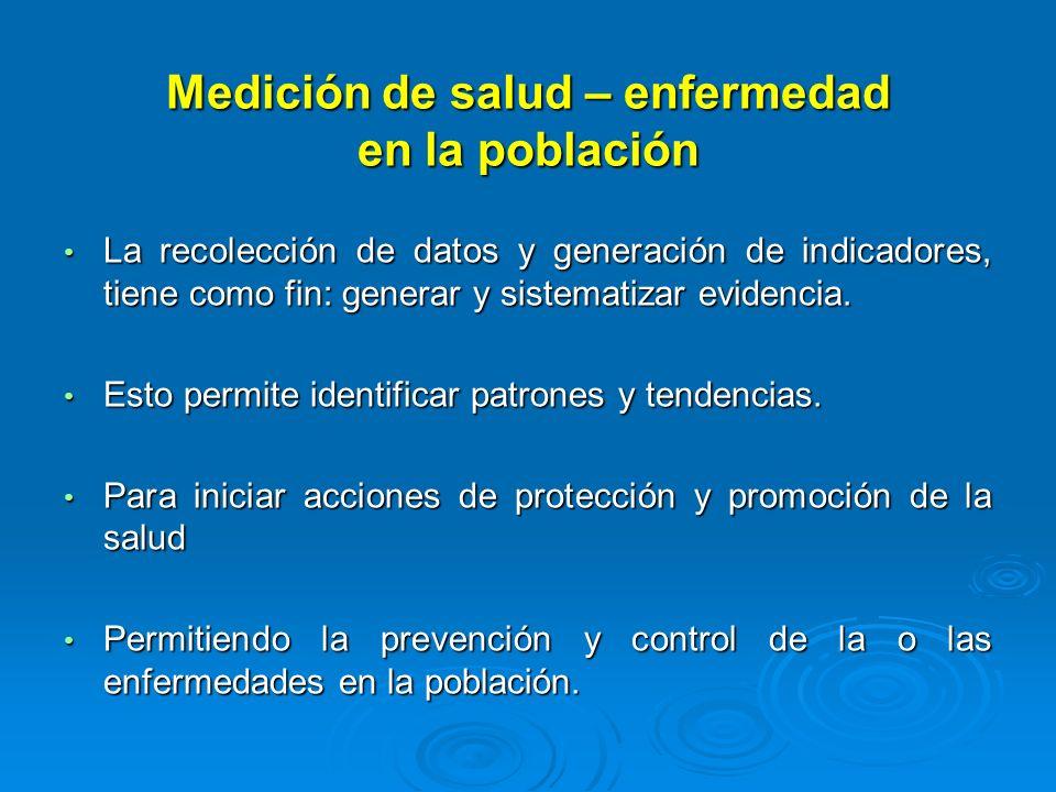 Medición de salud – enfermedad en la población La recolección de datos y generación de indicadores, tiene como fin: generar y sistematizar evidencia.