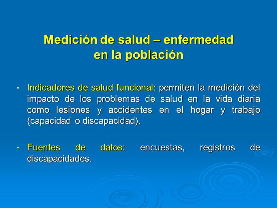 Medición de salud – enfermedad en la población Indicadores de salud funcional: permiten la medición del impacto de los problemas de salud en la vida d