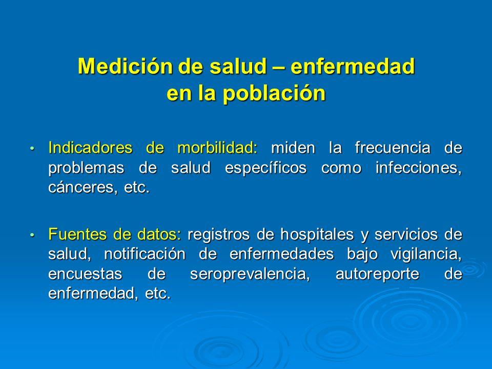 Medición de salud – enfermedad en la población Indicadores de morbilidad: miden la frecuencia de problemas de salud específicos como infecciones, cánc