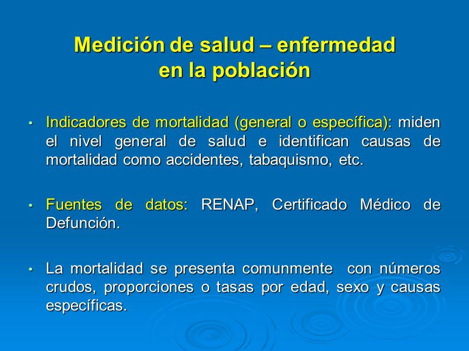 Medición de salud – enfermedad en la población Indicadores de mortalidad (general o específica): miden el nivel general de salud e identifican causas