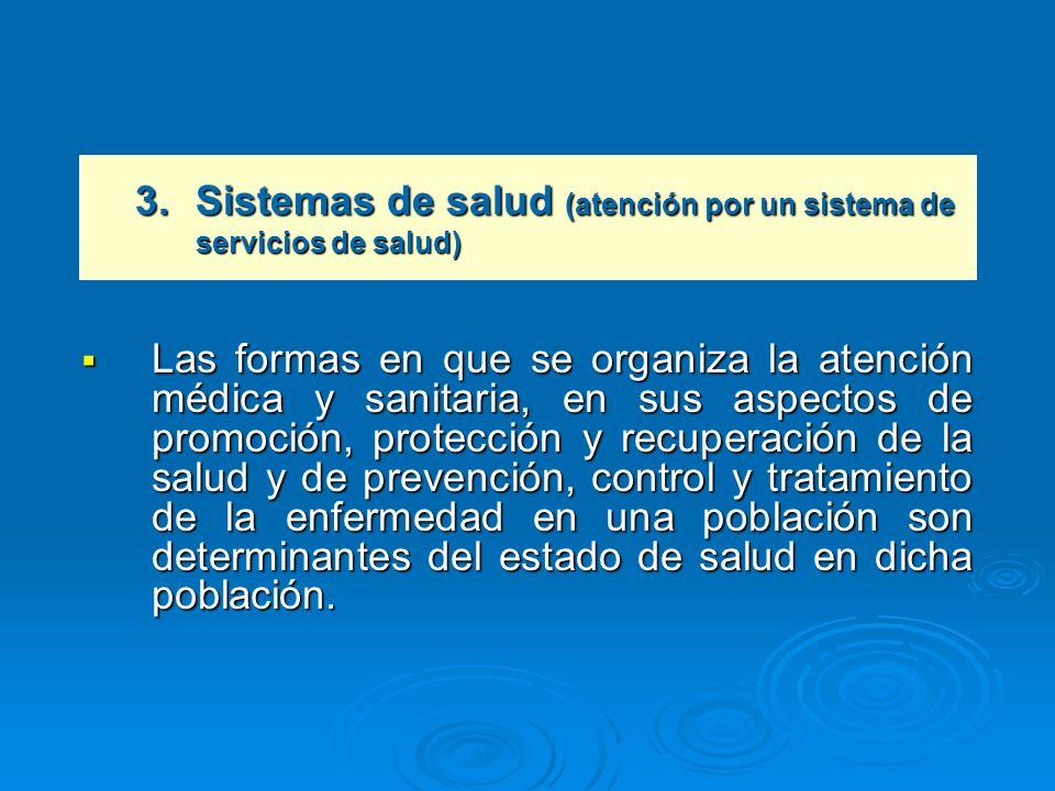 Las formas en que se organiza la atención médica y sanitaria, en sus aspectos de promoción, protección y recuperación de la salud y de prevención, con