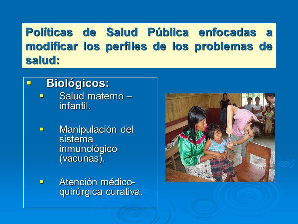 Biológicos: Biológicos: Salud materno – infantil. Salud materno – infantil. Manipulación del sistema inmunológico (vacunas). Manipulación del sistema
