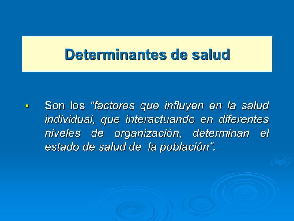 Determinantes de salud Son los factores que influyen en la salud individual, que interactuando en diferentes niveles de organización, determinan el es
