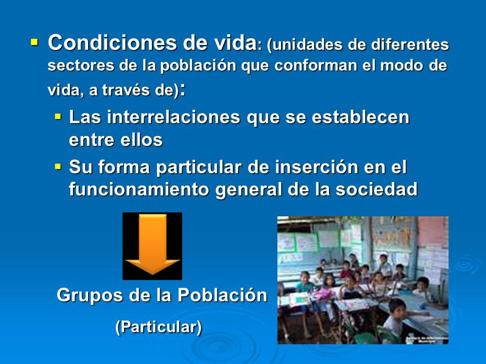 Condiciones de vida : (unidades de diferentes sectores de la población que conforman el modo de vida, a través de) : Condiciones de vida : (unidades d