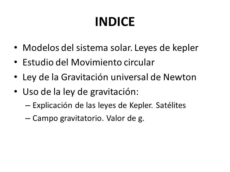 INDICE Modelos del sistema solar. Leyes de kepler Estudio del Movimiento circular Ley de la Gravitación universal de Newton Uso de la ley de gravitaci