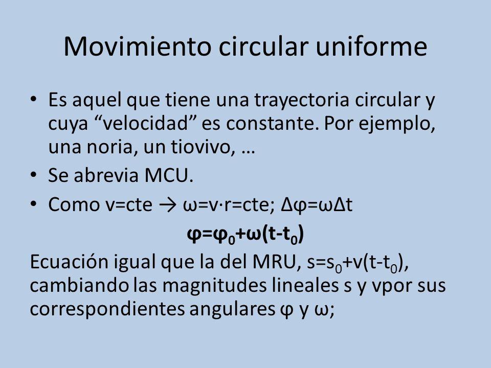 Movimiento circular uniforme Es aquel que tiene una trayectoria circular y cuya velocidad es constante. Por ejemplo, una noria, un tiovivo, … Se abrev