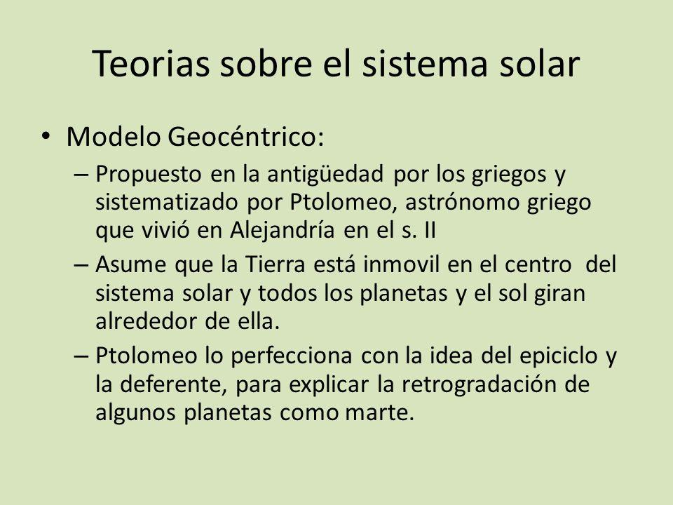 Teorias sobre el sistema solar Modelo Geocéntrico: – Propuesto en la antigüedad por los griegos y sistematizado por Ptolomeo, astrónomo griego que viv