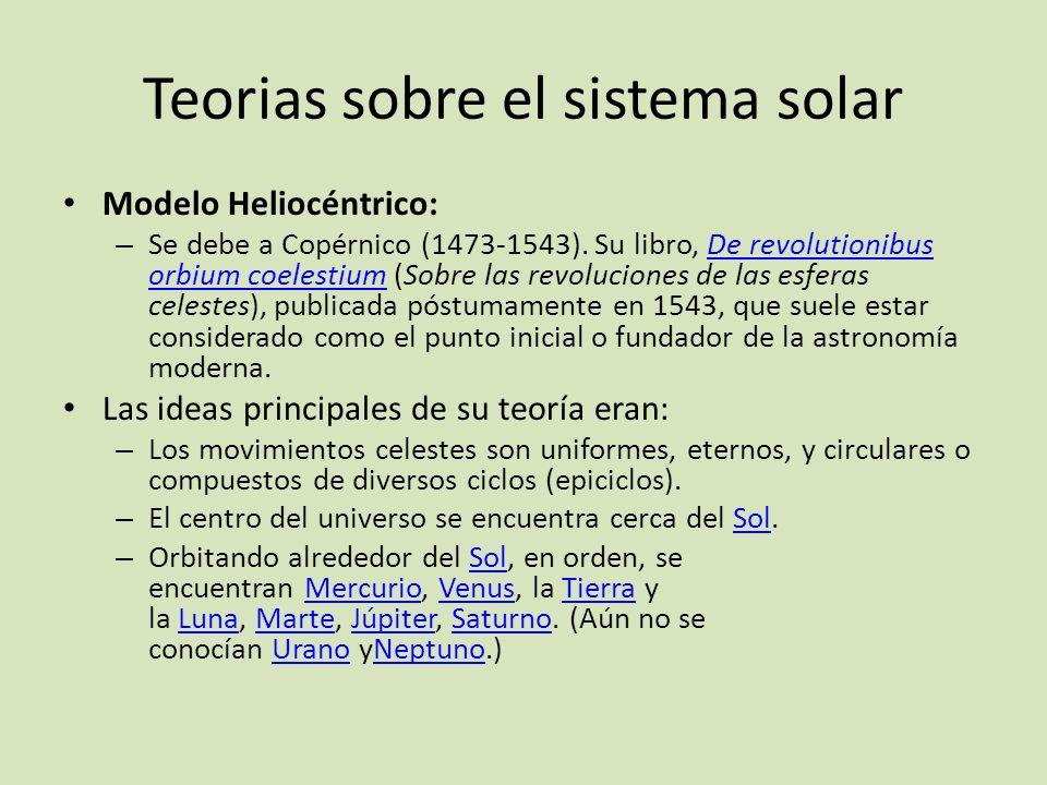 Teorias sobre el sistema solar Modelo Heliocéntrico: – Se debe a Copérnico (1473-1543). Su libro, De revolutionibus orbium coelestium (Sobre las revol