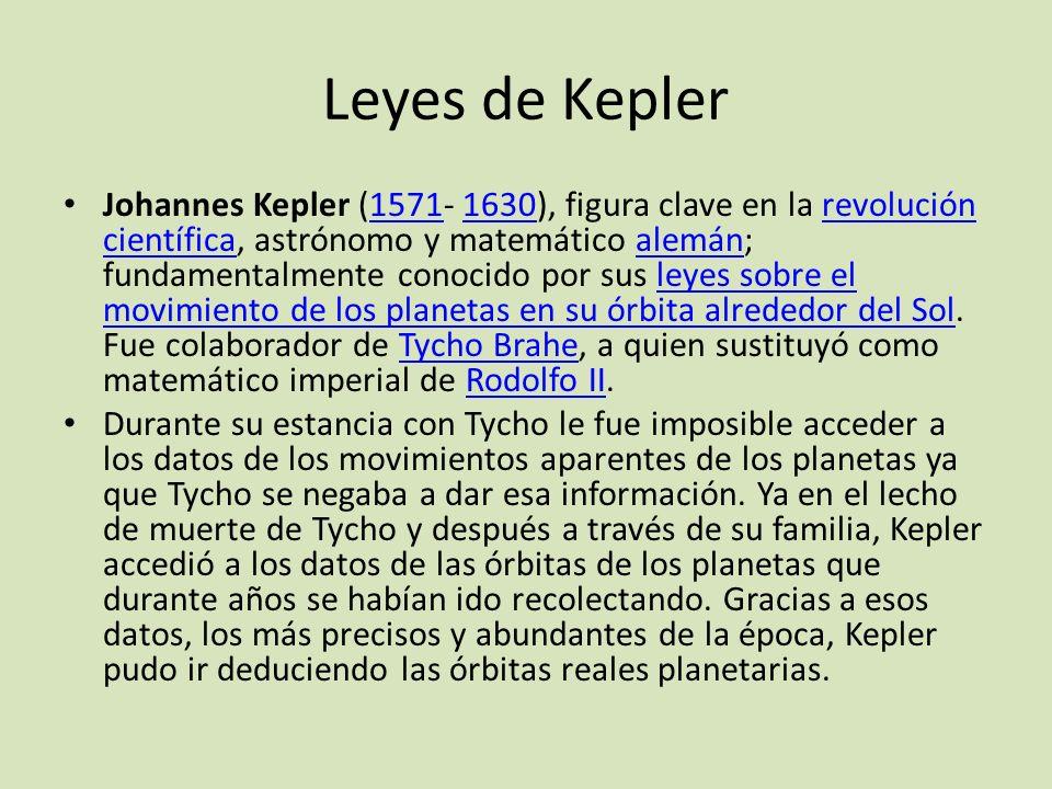 Leyes de Kepler Johannes Kepler (1571- 1630), figura clave en la revolución científica, astrónomo y matemático alemán; fundamentalmente conocido por s