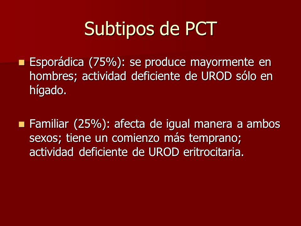Subtipos de PCT Esporádica (75%): se produce mayormente en hombres; actividad deficiente de UROD sólo en hígado. Esporádica (75%): se produce mayormen
