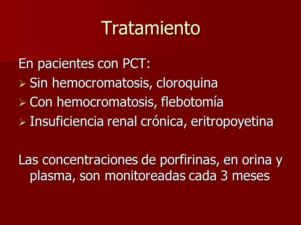 Tratamiento En pacientes con PCT: Sin hemocromatosis, cloroquina Sin hemocromatosis, cloroquina Con hemocromatosis, flebotomía Con hemocromatosis, fle
