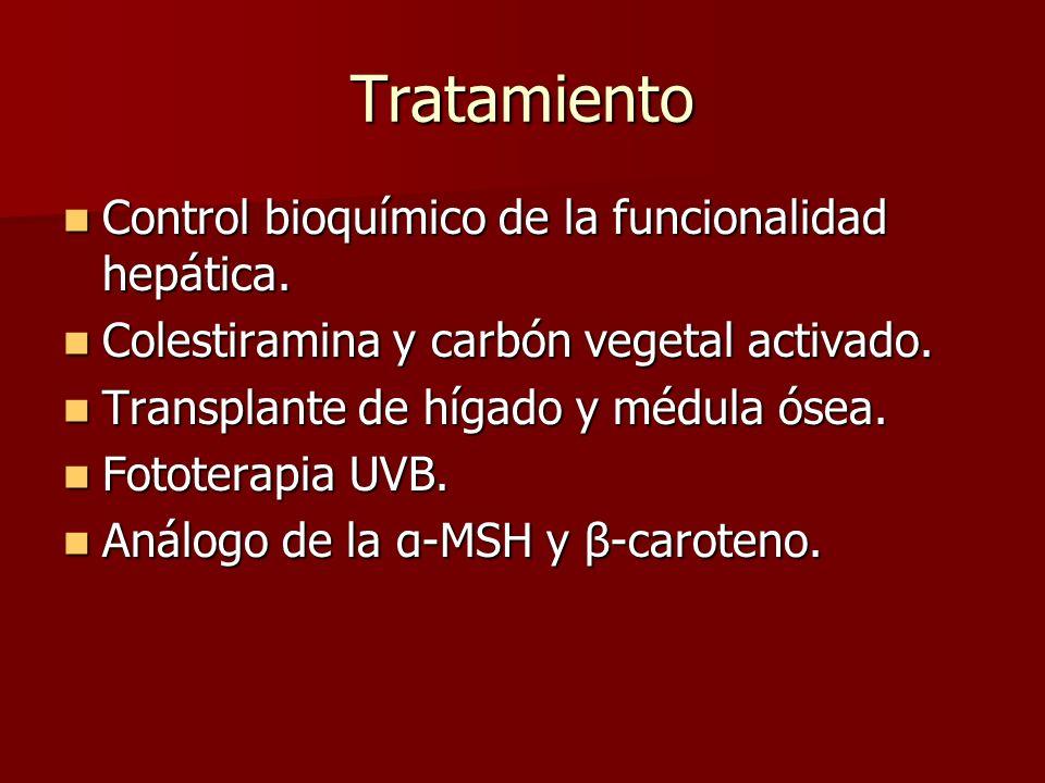 Tratamiento Control bioquímico de la funcionalidad hepática. Control bioquímico de la funcionalidad hepática. Colestiramina y carbón vegetal activado.