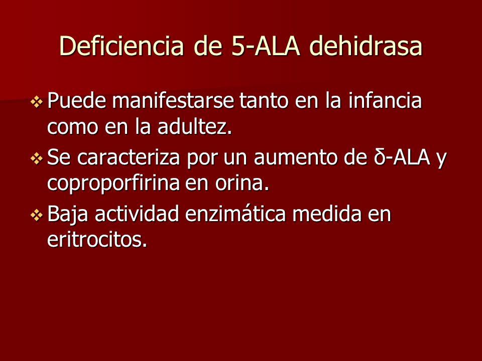 Deficiencia de 5-ALA dehidrasa Puede manifestarse tanto en la infancia como en la adultez. Puede manifestarse tanto en la infancia como en la adultez.