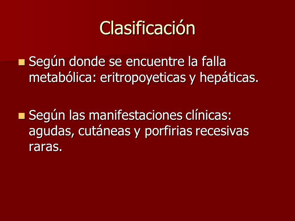 Clasificación Según donde se encuentre la falla metabólica: eritropoyeticas y hepáticas. Según donde se encuentre la falla metabólica: eritropoyeticas
