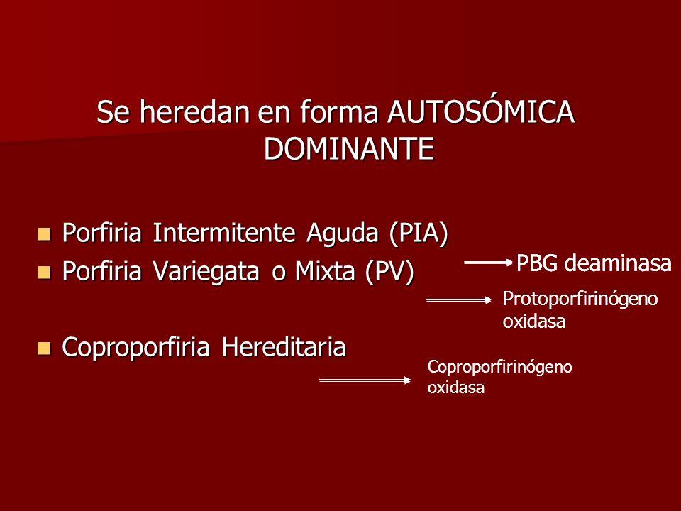 Se heredan en forma AUTOSÓMICA DOMINANTE Porfiria Intermitente Aguda (PIA) Porfiria Intermitente Aguda (PIA) Porfiria Variegata o Mixta (PV) Porfiria