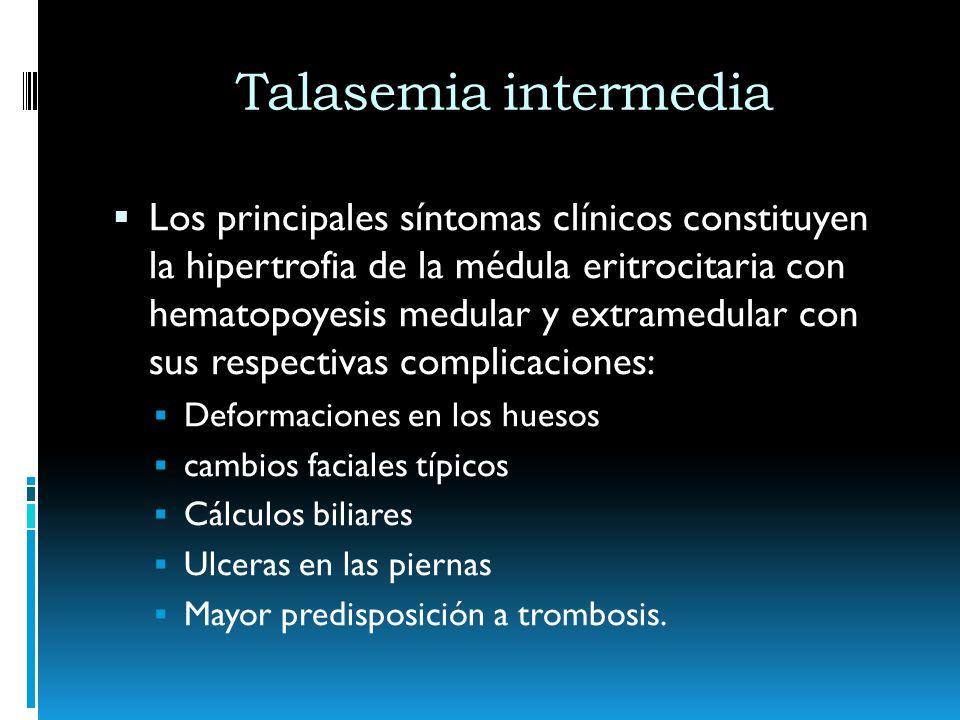 Talasemia intermedia Tratamientos: Pueden requerir esplenoctomía Suplementación con ácido fólico Tratamiento de las masas eritropoyética extramedulares Úlceras en las piernas
