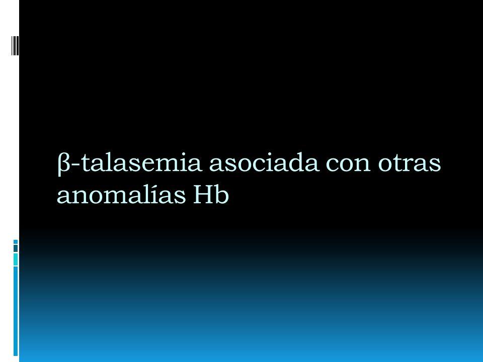 La Interacción de Hb E y β - talasemia Leve: nivel de Hb entre 9 y 12 g/dl (asintomática) Moderadamente severa: nivel de Hb entre 6 y 7 g/dl (similar a talasemia intermedia) Severa nivel de Hb 4,5 g/dl (síntomas y tratamiento de talasemia mayor)