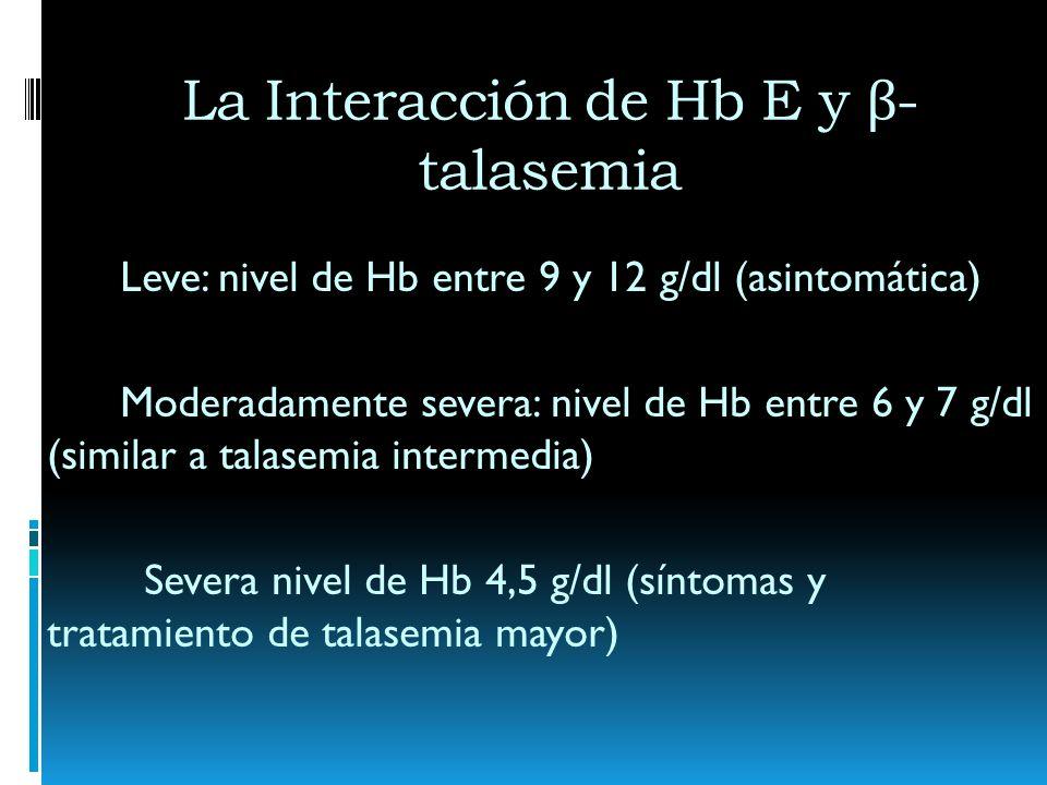 La Interacción de Hb E y β - talasemia Leve: nivel de Hb entre 9 y 12 g/dl (asintomática) Moderadamente severa: nivel de Hb entre 6 y 7 g/dl (similar