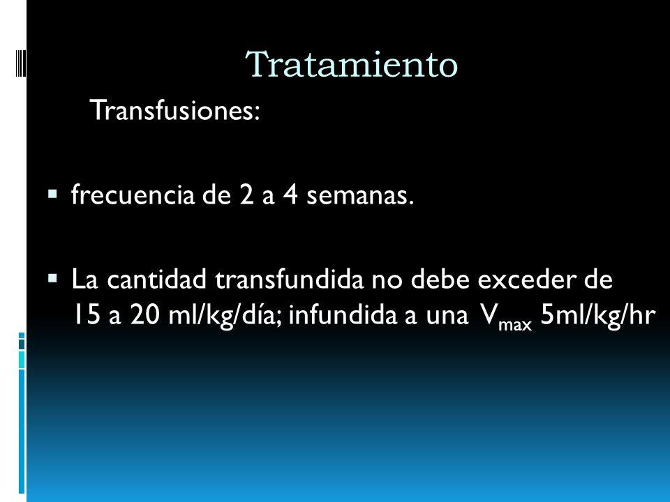 Tratamiento Transfusiones: frecuencia de 2 a 4 semanas. La cantidad transfundida no debe exceder de 15 a 20 ml/kg/día; infundida a una V max 5ml/kg/hr
