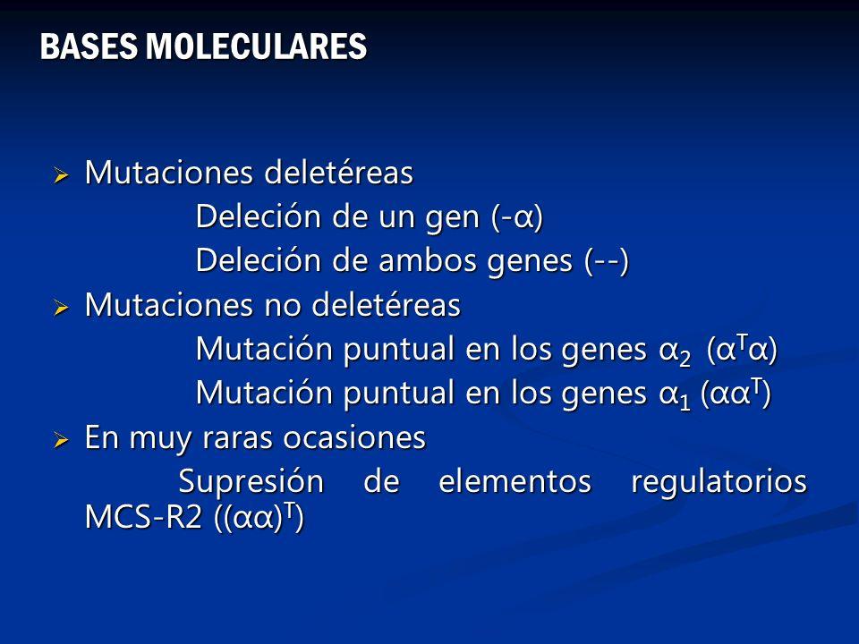 Mutaciones deletéreas Mutaciones deletéreas Deleción de un gen (-α) Deleción de un gen (-α) Deleción de ambos genes (--) Deleción de ambos genes (--)