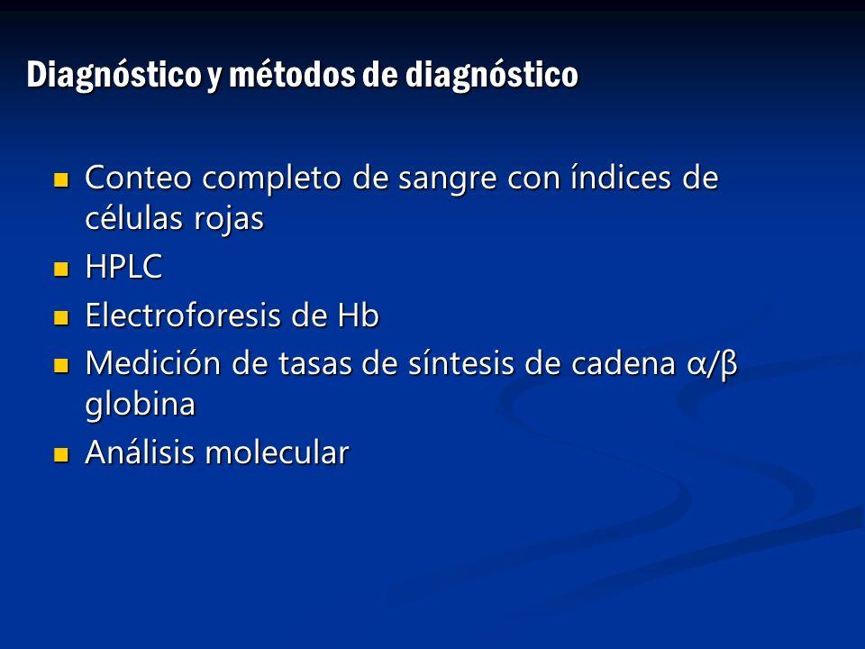 Conteo completo de sangre con índices de células rojas Conteo completo de sangre con índices de células rojas HPLC HPLC Electroforesis de Hb Electrofo