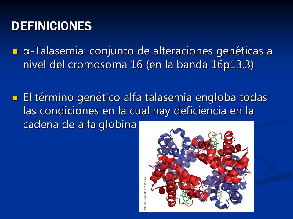 DEFINICIONES α-Talasemia: conjunto de alteraciones genéticas a nivel del cromosoma 16 (en la banda 16p13.3) α-Talasemia: conjunto de alteraciones gené