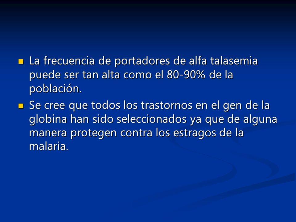 La frecuencia de portadores de alfa talasemia puede ser tan alta como el 80-90% de la población. La frecuencia de portadores de alfa talasemia puede s