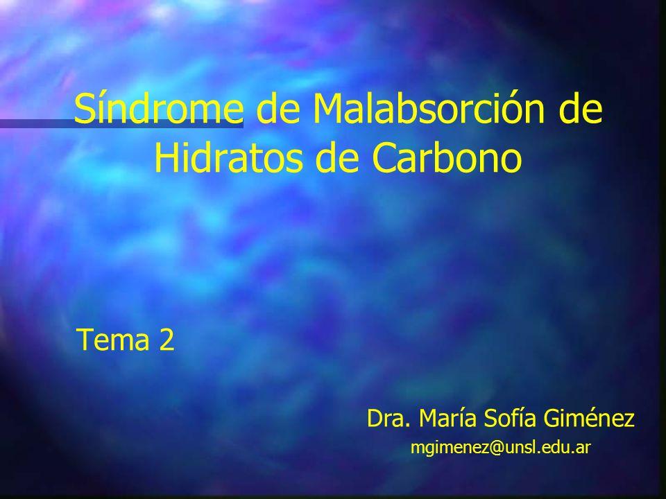 Síndrome de Malabsorción de Hidratos de Carbono Tema 2 Dra. María Sofía Giménez mgimenez@unsl.edu.ar