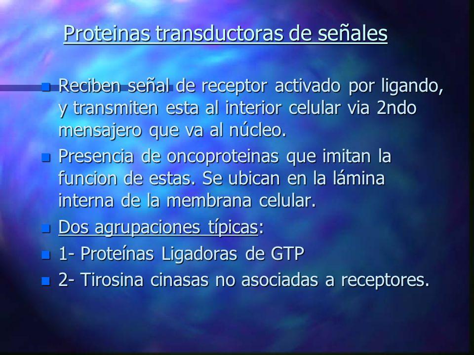 Proteinas transductoras de señales n Reciben señal de receptor activado por ligando, y transmiten esta al interior celular via 2ndo mensajero que va a